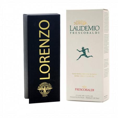 Black and White Geschenkset: Natives Entsteintes Olivenöl Extra Lorenzo N° 5 und Laudemio Frescobaldi 500 ml x 2