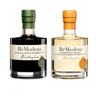 Bis Vinaigre Balsamique Biologique ReModena: Condiment Blanc et Classique Modena IGP 250 ml x 2