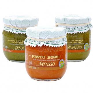 Tris Pesto Basilico Genovese DOP: Classico, Senza aglio e Rosso 180 gr x 3