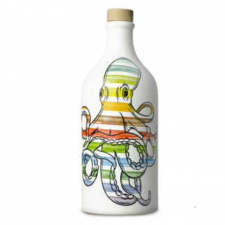 Handmade Ceramic Jar Polpo with Monocultivar Coratina Extra Virgin Olive Oil 500 ml