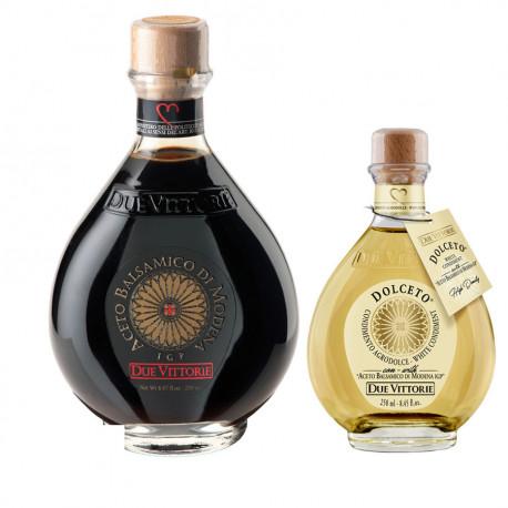 Set Oro Bianco e Oro Nero Due Vittorie: Aceto Balsamico di Modena IGP Oro 500 ml e bianco Dolceto 250 ml