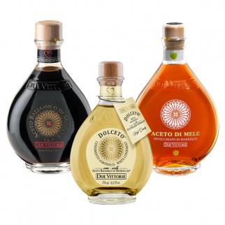 Due Vittorie Azijn Trio: Oro Balsamico uit Modena, Witte Dolceto en Appelazijn gerijpt in Houten Vaten 250 ml x 3