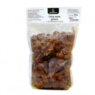 """Olives Noires """"Grinze"""" séchées à l'Huile d'Olive Extra Vierge 600 gr"""