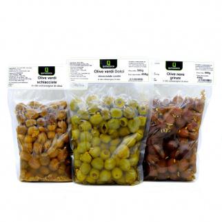 Trio von Oliven: Grüne Entkernte Oliven, Grüne zerdrückte Oliven und Schwarze Grinze Oliven in nativem Olivenöl Extra