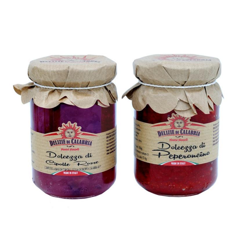 Set le Dolcezze Bio Delizie di Calabria: Cipolle Rosse di Tropea Calabria IGP e Peperoncino  160 gr x 2