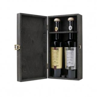 Coffret en bois Huile d'Olive Extra Vierge Gran Cru Galantino 500 ml x 2