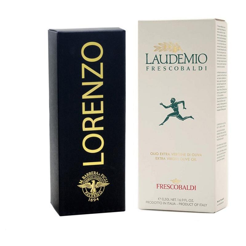 Set Regalo Black and White: Olio Extra Vergine di Oliva Denocciolato Lorenzo n°5 e Laudemio Frescobaldi 500 ml x 2