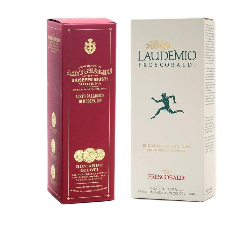 Giusti and Frescobaldi Set: Balsamic Vinegar of Modena PGI 3 Gold Medals 250 ml and Extra Virgin Olive Oil Laudemio 500 ml