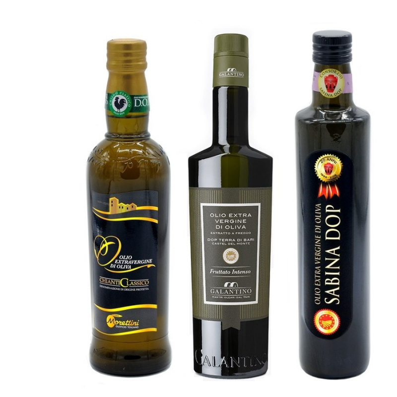 Selezione 3 Oli di oliva Extravergini DOP        Chianti - Terra di Bari - Sabina