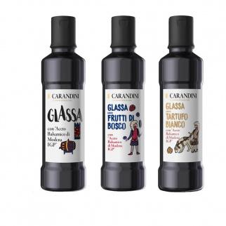 Tris Crèmes au Vinaigre Balsamique de Modena IGP:  Classique,  Fruits Rouges, Truffe Blanche 250 ml x 3