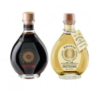 Duetto Essig Oro Bianco e Oro Nero Due Vittorie: Balsamico Essig aus Modena IGP Oro und Weißes Dressing Dolceto 250 ml x 2