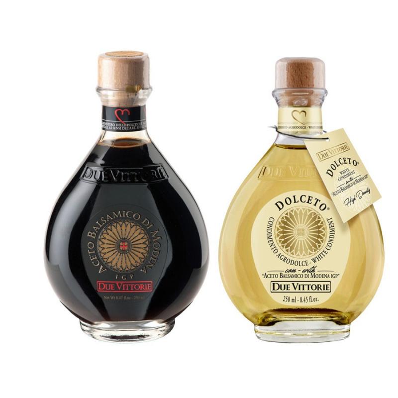 Duetto Due Vittorie Oro Blanc et Noir: Vinaigre Balsamique de Modena IGP Oro et Vinaigre Blanc Dolceto 250 ml x 2