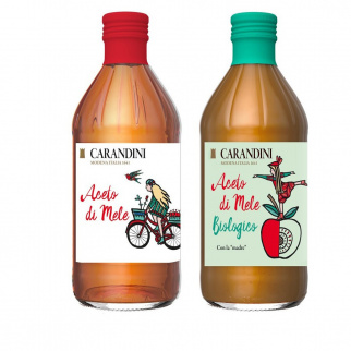 """Duo Apple Cider Vinegar Carandini: Classic and Organic Apple with the """"Mother"""" 500 ml x 2"""