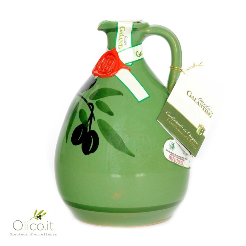 "Handmade Ceramic Jar ""Tony"" with Extra Virgin Olive Oil"