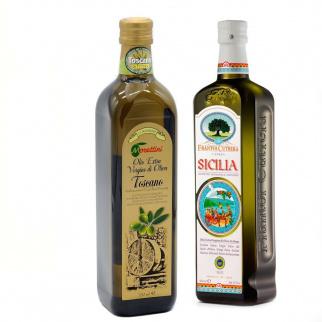 Séléction 2 Huiles d'Olive Extra Vierge IGP - Toscane et Sicilienne 750 ml + 500 ml