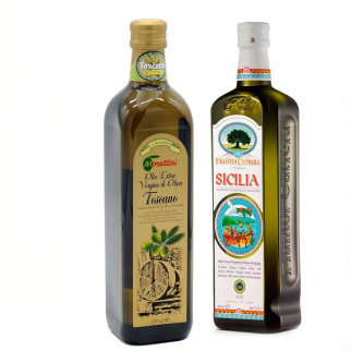 Selection of 2 PGI Extra Virgin Olive Oils - Tuscan and Sicilian 750 ml + 500 ml