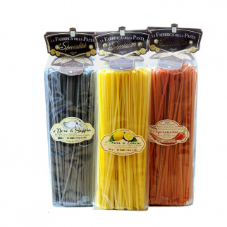 Set Pasta Linguine Gourmet - Peperoncino Limone Nero di seppia 500 gr x 3