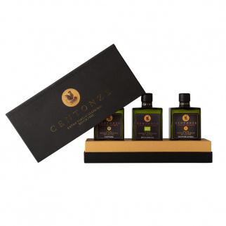 Boîte Cadeau Huile d'Olive Extra Vierge Centonze: IGP Sicilia, Nocellara BIO, AOP Valle del Belice 200 ml x 3