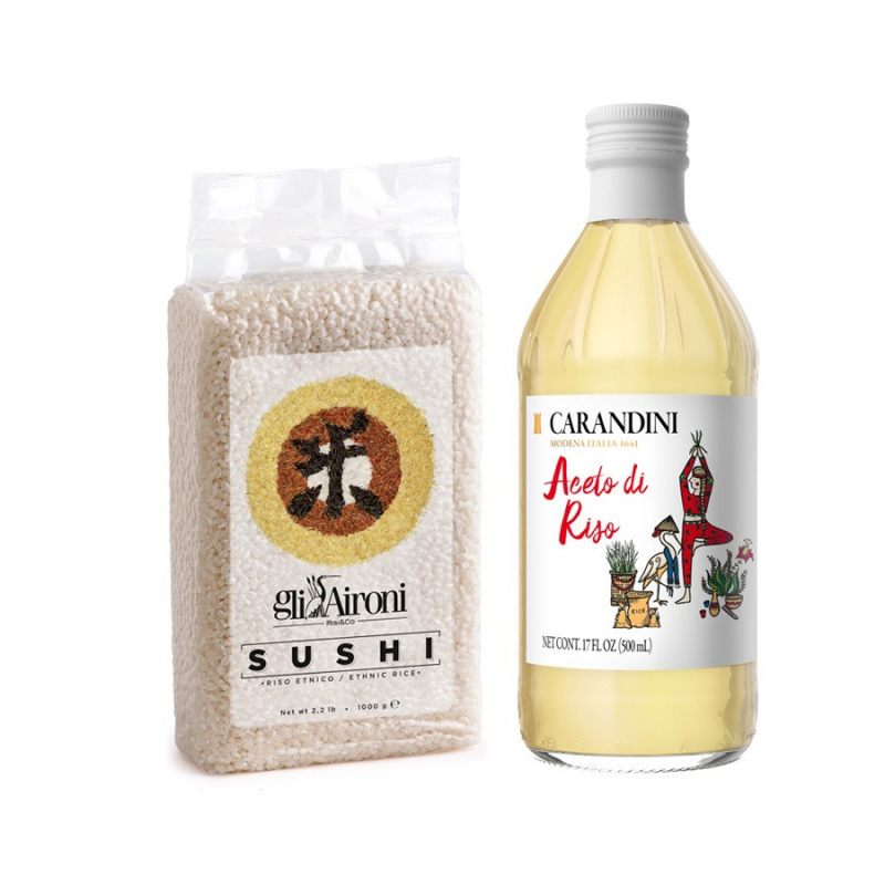 Kit per Sushi: Riso Gli Aironi 1 kg e Aceto di Riso Carandini 500 ml