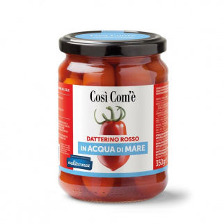 Whole Red Datterino tomatoes in sea water 350 gr